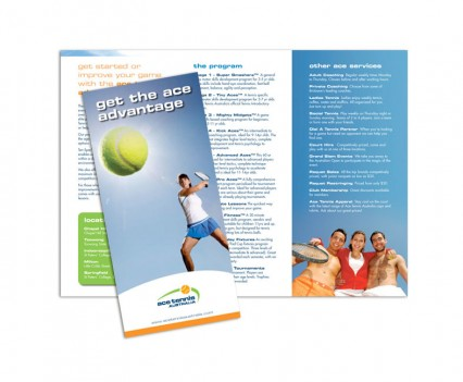 Ace Tennis Australia brochure designed by brisbane graphic designer Megan Taylor