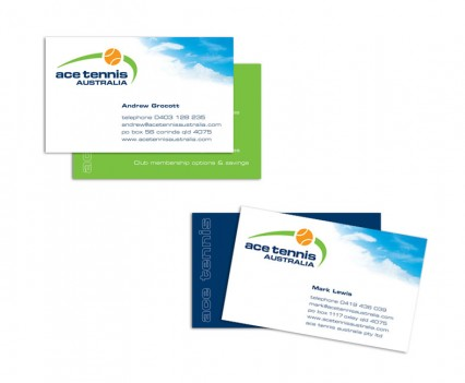Ace Tennis Australia business cards designed by brisbane graphic designer Megan Taylor