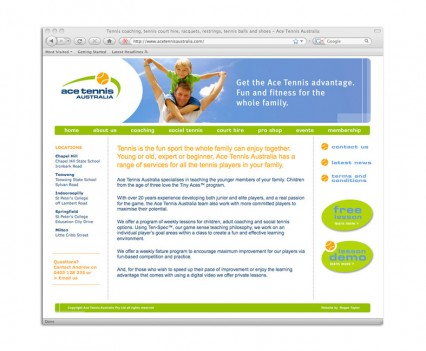 Ace Tennis Australia website designed by brisbane graphic designer Megan Taylor