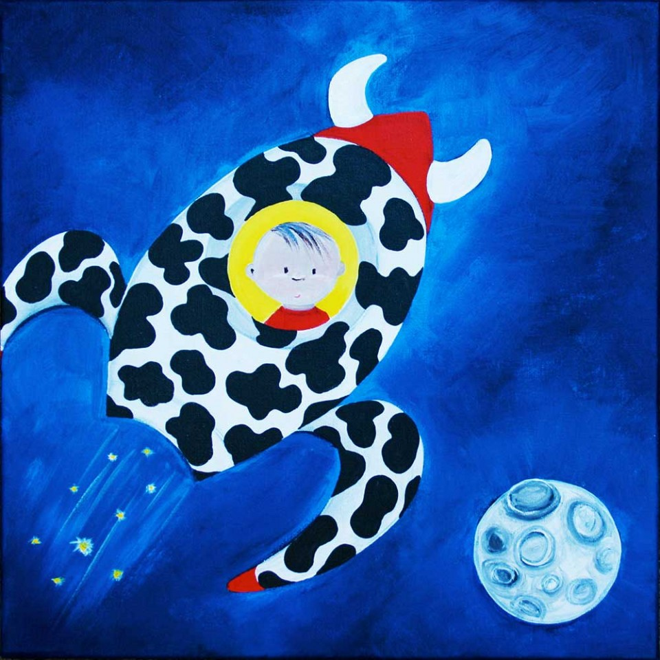 The Cow Jumped Over The Moon illustration by brisbane graphic designer Megan Taylor