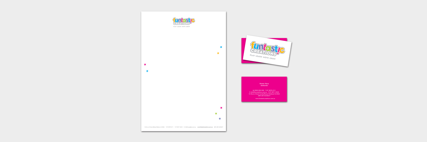 Funtastic Creations Stationery Logo designed by Brisbane graphic designer Megan Taylor
