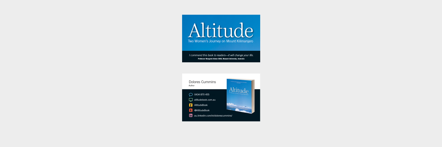 Business card design for Altitude Two Women's Journey on Mount Kilimanjaro by Barbara Baikie and Dolores Cummins designed by Brisbane graphic designer Megan Taylor