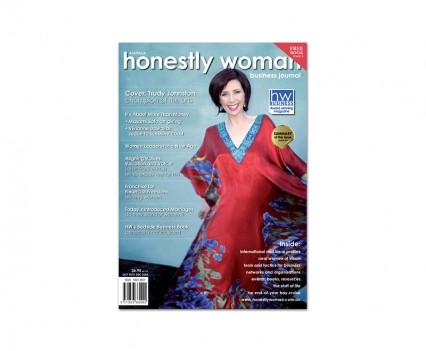 Honestly Woman magazine cover designed by brisbane graphic designer Megan Taylor