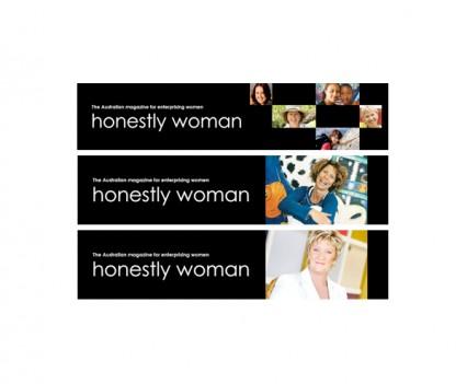 Honestly Woman magazine website banners designed by brisbane graphic designer Megan Taylor