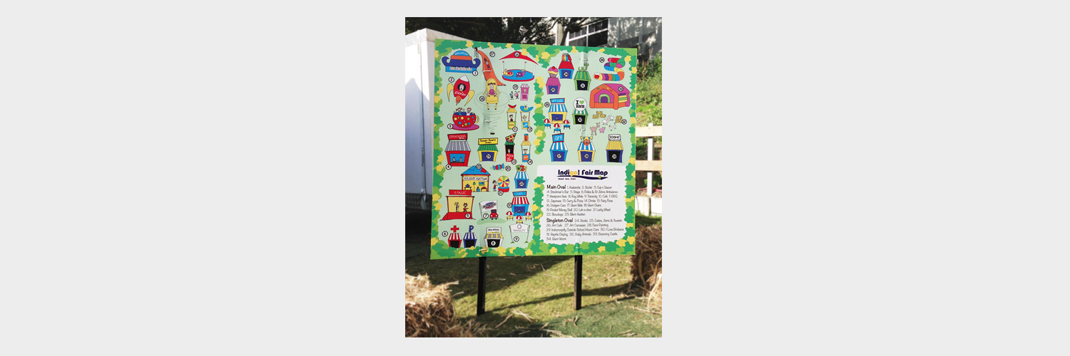 Indooroopilly State School Fete Map Illustration by Brisbane graphic design Megan Taylor