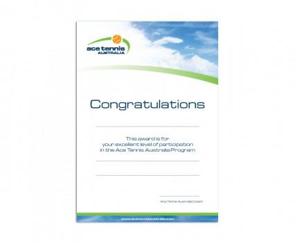 Ace Tennis Australia certificate designed by brisbane graphic designer Megan Taylor