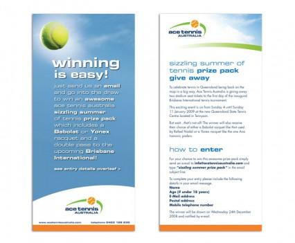 Ace Tennis Australia flyer designed by brisbane graphic designer Megan Taylor