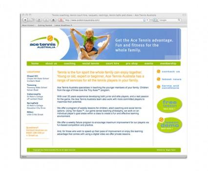 Ace Tennis Australia website designed by brisbane graphic designer Megan Taylor