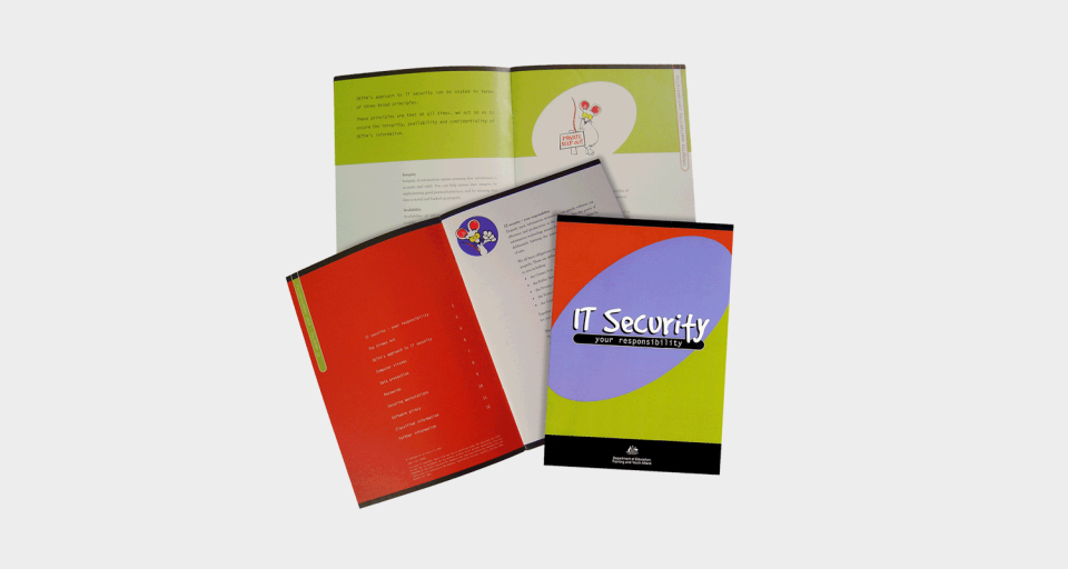 Booklet designed for IT security campaign for Commonwealth Department of Education Training and Youth Affairs.