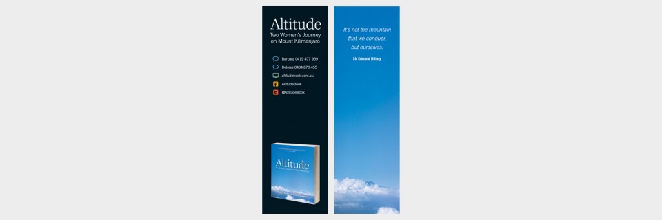 Bookmark design for Altitude Two Women's Journey on Mount Kilimanjaro by Barbara Baikie and Dolores Cummins designed by Brisbane graphic designer Megan Taylor