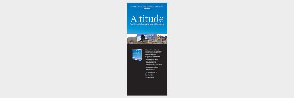 Pull-up banner design for Altitude Two Women's Journey on Mount Kilimanjaro by Barbara Baikie and Dolores Cummins designed by Brisbane graphic designer Megan Taylor