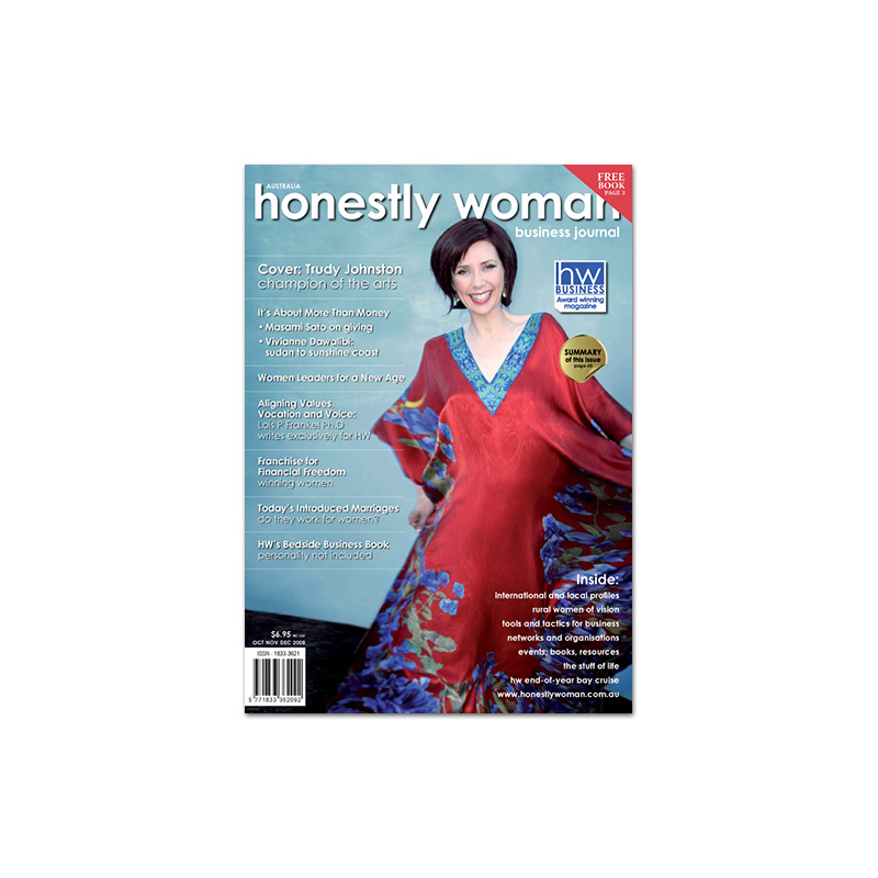 Honestly Woman magazine cover designed by brisbane graphic designer Megan Taylor